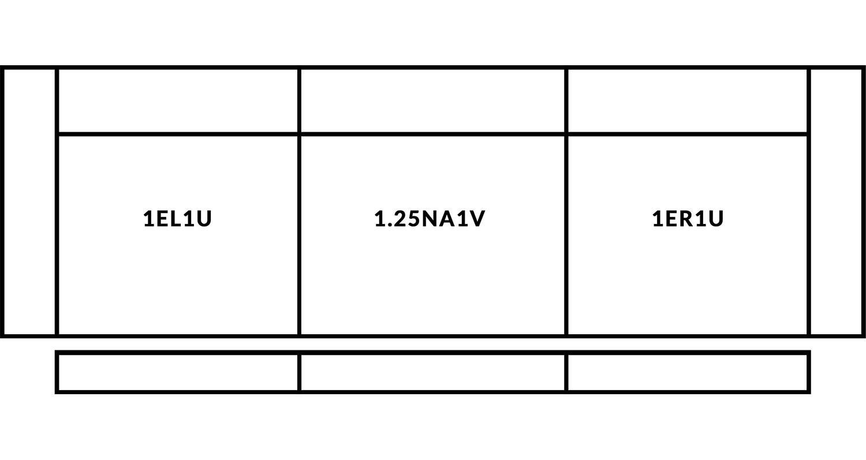 FrontRow™ Modern 3 seat straight Option 1