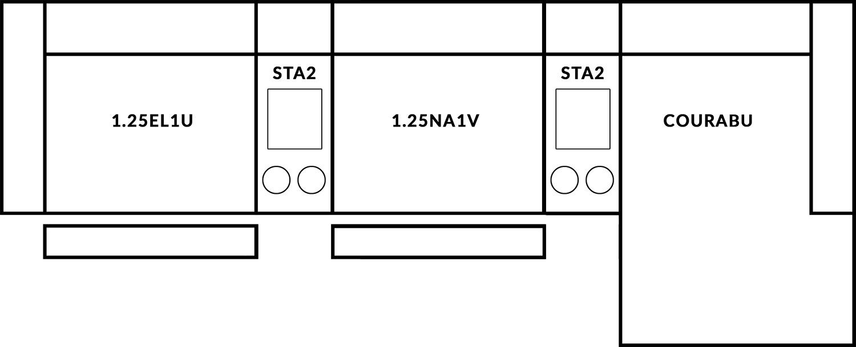 FrontRow™ Modern 3 seat straight Option 12