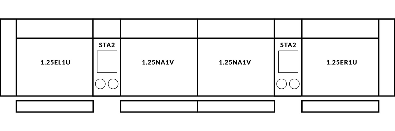 FrontRow™ Modern 4 seat straight Option 3