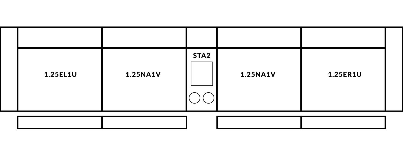 FrontRow™ Modern 4 seat straight Option 6