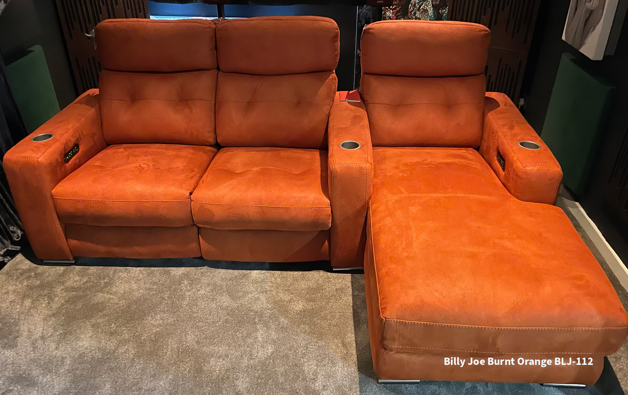 Frontrow™ Serenity home cinema seating Billy Joe Burnt orange