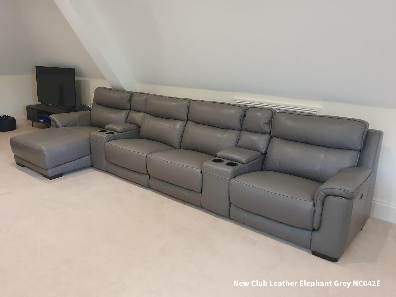 FrontRow™ Luno Home Cinema Seating New Club Leather Elephant Grey NC042E