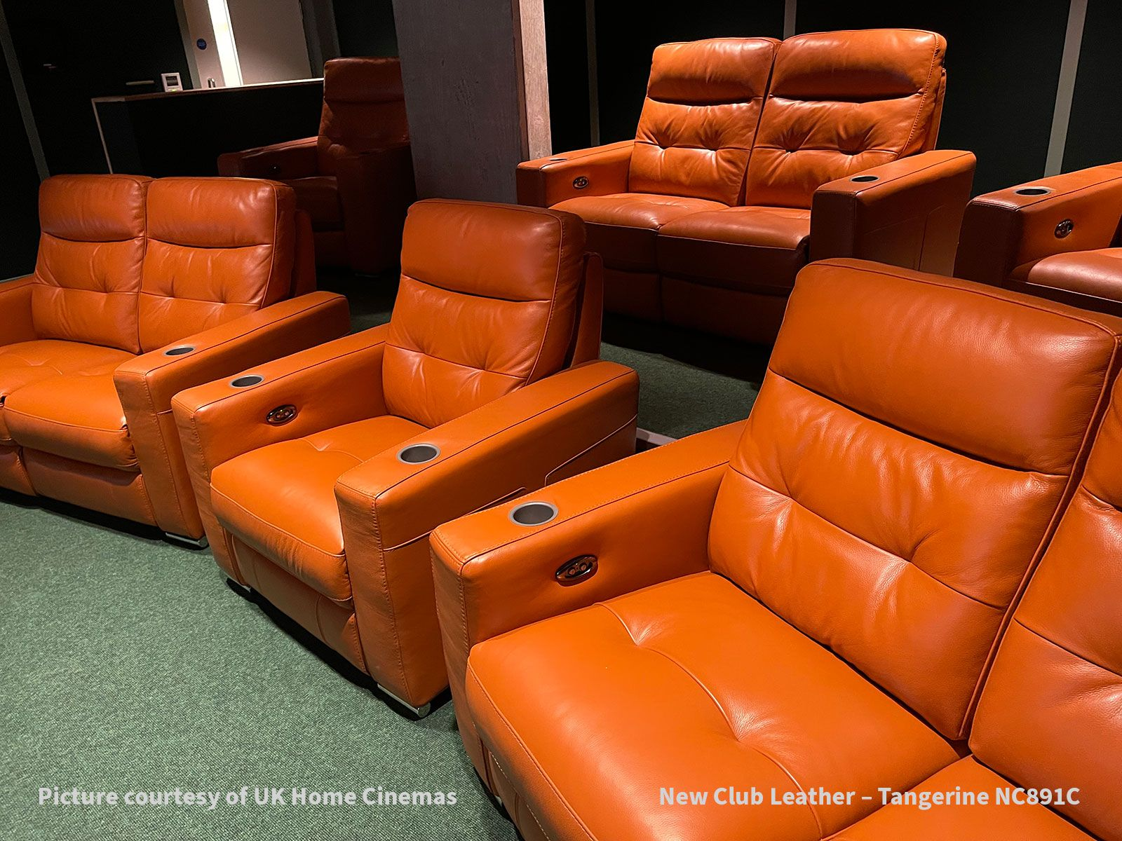 Frontrow™ Serenity home cinema seating New Club Leather Tangerine